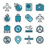 Luftfahrt und Flugzeugverkehrkonzeptikone Stockbild