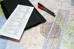 Luftfahrtdiagramm und -planung intruments stockfoto