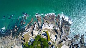 Luftfoto der atlantischen Küste in Penchateau, Le Pouliguen lizenzfreie stockfotos