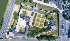 Luftfoto des Angers Stadtschlosses stockbild