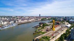 Luftfoto des Nantes-Stadtzentrums lizenzfreie stockfotografie