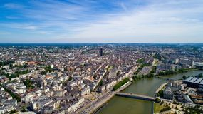 Luftfoto des Nantes-Stadtzentrums lizenzfreie stockfotos