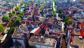 Luftfoto des Rotlichtviertels in Amsterdam stockbilder
