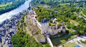 Luftfoto königlicher Festung Chinon lizenzfreies stockfoto