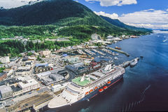 Luftfoto von Alaska Ketchikan lizenzfreies stockfoto