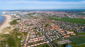 Luftfoto von Bleriot-Strand in Calais, Frankreich Lizenzfreie Stockfotografie