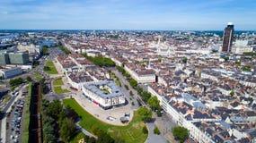 Luftfoto von Feydeau-Bezirk im Nantes-Stadtzentrum lizenzfreie stockfotos