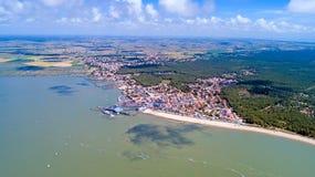 Luftfoto von Fromentine-Dorf im Vendee lizenzfreie stockfotos