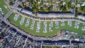 Luftfoto von Hafen Le Pouliguen in der Loire Atlantique stockbilder