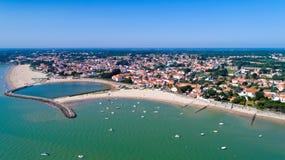 Luftfoto von La Bernerie en Retz stockbilder