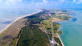 Luftfoto von Noirmoutier-Insel im Vendee stockfotografie