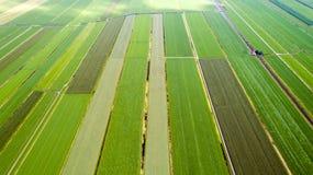 Luftfoto von Patchworkfeldern in Oudewater, die Niederlande lizenzfreies stockbild