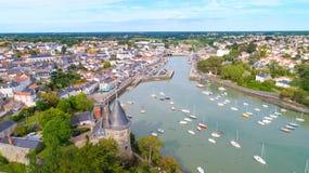 Luftfoto von Pornic-Stadt, die Loire Atlantique lizenzfreie stockfotografie