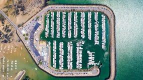 Luftfoto von Pornichet-Jachthafen in der Loire Atlantique stockfotos