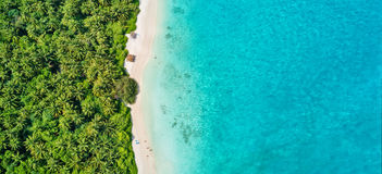 Luftfoto von tropischen Malediven setzen auf Insel auf den Strand stockbild