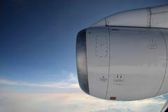 Luftfotographie mit Flugzeugmotor Stockfoto