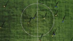 Luftfußballspielanfang Anfang des Spiels Fußballspiel