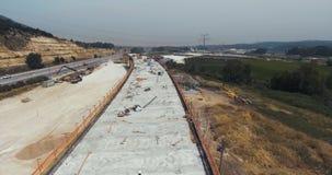 Luftgesamtlänge eines Landstraßen-Bauvorhabens des großen Umfangs stock footage