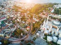 Luftgesamtlänge von Sultanahmet, blaue Moschee stockfotografie
