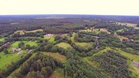 Luftgesamtlänge Wald, Felder und Flüsse Sommernaturlandschaft stock video footage