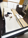 Lufthansa A380 First Class. The first class chair/bed in an Airbus A380 from Lufthansa. The first class is located in the upper floor. A380 is the worlds largest Stock Photography