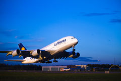 Lufthansa A380 takeoff. An Airbus A380 from Lufthansa takeoff at Oslo Airport Gardermoen, Norway. This is the second time an A380 visits Norway. A380 is the royalty free stock image