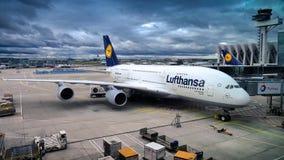 Lufthansa A380 at terminal Royalty Free Stock Photos