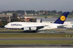 Lufthansa Aerobus A380 Obrazy Stock