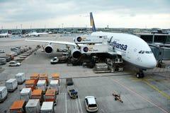 Lufthansa aeroplane at Frankfurt am Main airport Royalty Free Stock Photography