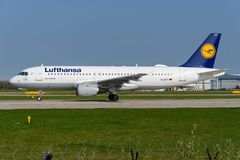 Lufthansa Airbus A320 Imagens de Stock Royalty Free