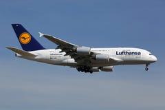 Lufthansa Airbus A380 Fotos de archivo libres de regalías