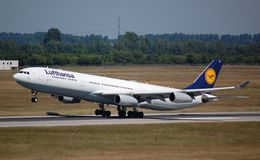 Lufthansa Airbus 340 Stock Photo
