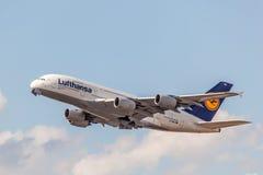 Lufthansa Airbus A380-800 Foto de archivo libre de regalías