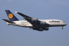 Lufthansa Airbus A380. Frankfurt, Germany - November 7, 2011: A Lufthansa Airbus A380 on approach to Frankfurt International Airport (FRA). Lufthansa is the stock photo