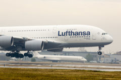 Lufthansa Airbus A380 airplane landing Royalty Free Stock Image