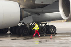 Lufthansa Airbus A380 airplane workers Royalty Free Stock Photography