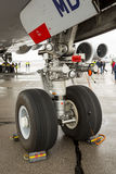 Lufthansa Airbus A380 airplane workers tires Stock Photo