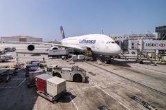 Lufthansa Airbus A380 ar gate in Los Angeles international Airport, USA. Stock Photo