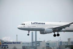 Lufthansa Airbus A320-200 D-AIUQ a décollé de l'aéroport de Munchen Images libres de droits