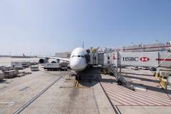 Lufthansa Airbus a380 en el aeropuerto internacional de Los Ángeles en los E.E.U.U. Fotos de archivo