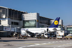 Lufthansa Airbus A319-100 at the Frankfurt Airport Royalty Free Stock Images