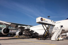 Lufthansa Airbus A380 at the Frankfurt Airport. Stock Photography
