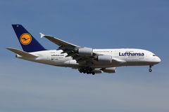 Lufthansa Airbus A380. Frankfurt, Germany - June 19, 2013: A Lufthansa Airbus A380 with the registration D-AIMA on approach to Frankfurt Airport (FRA). Lufthansa Royalty Free Stock Photos