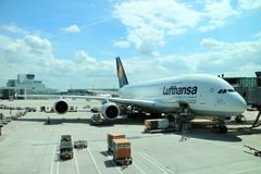 Lufthansa Airbus A380. In the Frankfurt International Airport. A380 is the largest passenger airliner, and the airports at which it operates have upgraded Stock Photos