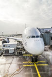 Lufthansa Airbus A380 at the Gate of the Frankfurt Airport Stock Photo