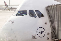 Lufthansa Airbus A380 at the Gate of the Frankfurt Airport Royalty Free Stock Images