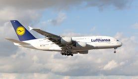 Lufthansa Airbus A-380 jumbo jet landing in Miami. Stock Photos