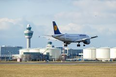 Lufthansa A319 landing at Schiphol Stock Photography