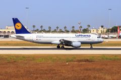 Lufthansa Airbus A320 in Malta Royalty Free Stock Photography