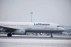 Lufthansa Airbus A321-200, opinião da cabine Fotos de Stock